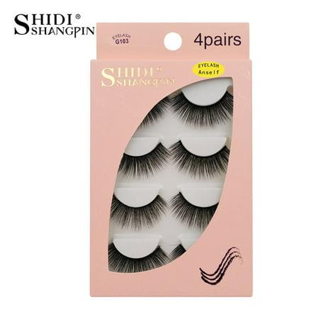 Anself SHIDISHANGPIN 4 Pairs Fake Eyelashes False Eyelashes Natural Long Lashes Makeup Lashes - Comic Strip Makeup