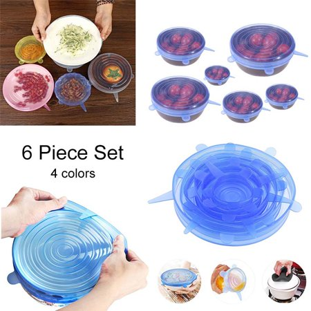 Reusable Silicone Stretch Lids for Bowl, Can, Jar, Glassware, Food Saver Covers Safe in Dishwasher, Microwave and Freezer - 6 Pack