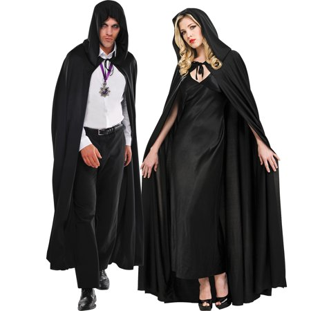 Hooded Nylon Cape (Black Hooded Full Length Cape, Adult )