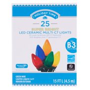 Holiday Time Super Bright Ceramic LED C7 Light set, Multicolored, 25 count
