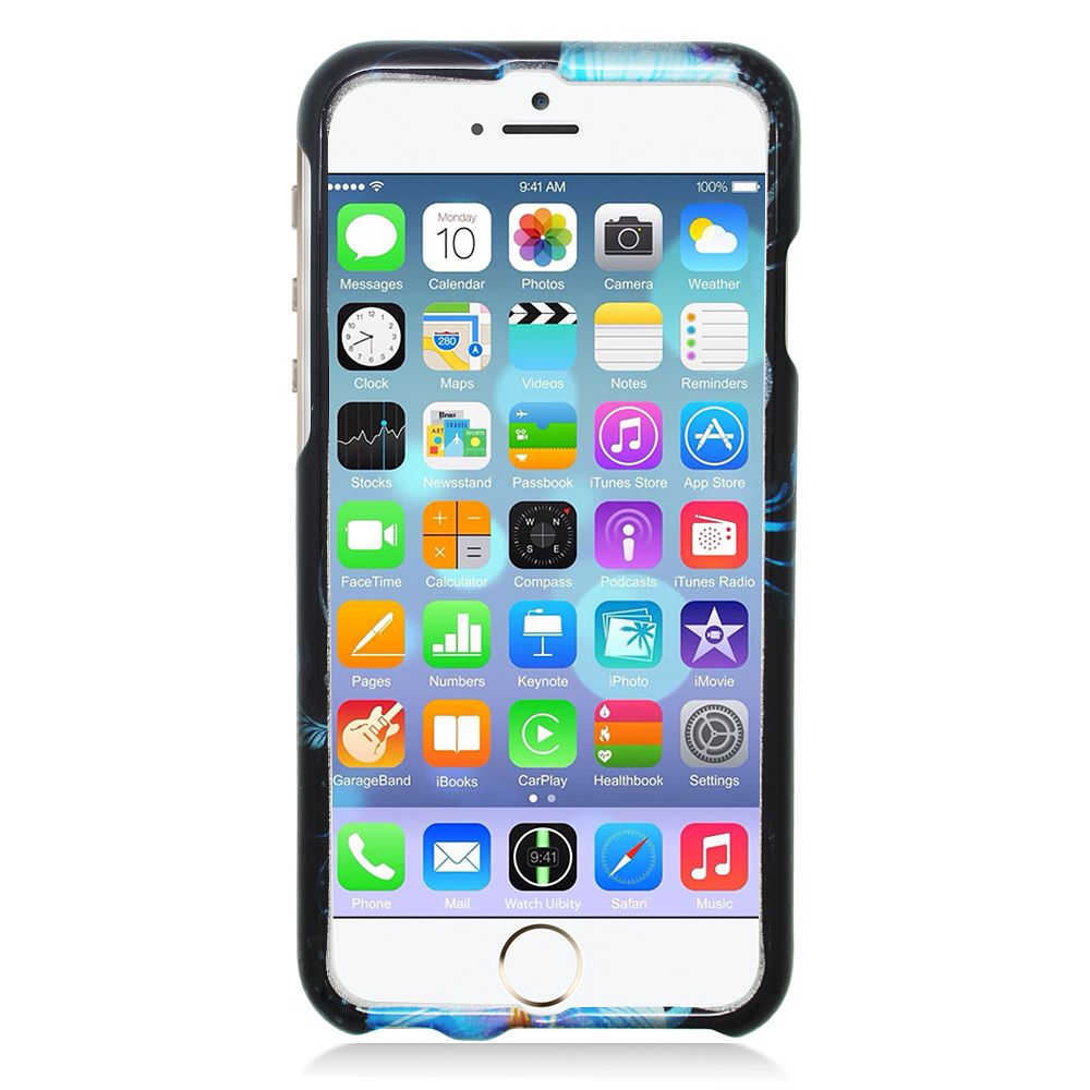 Insten Flowers Hard Rubber Coated Cover Case for iPhone 6 / 6s - Blue/Black - image 1 of 3