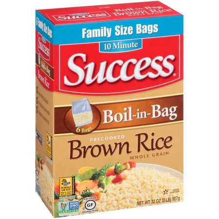 (4 Pack) Success Boil-In-Bag Whole Grain Brown Rice, 32-Ounce Box, 6 Family Size (Brown Rice Shells)
