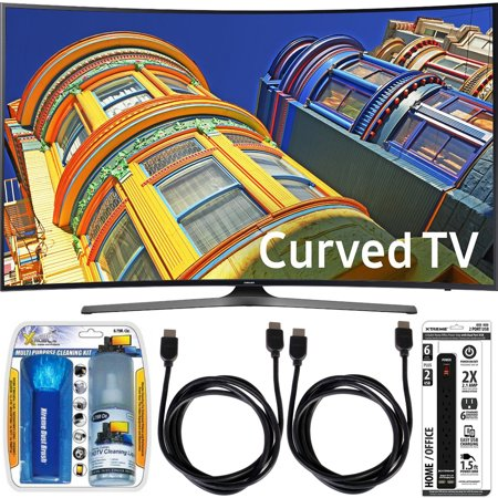 Samsung UN55KU6500 – Curved 55-Inch 4K Ultra HD LED Smart TV Essential Accessory Bundle includes TV, Screen Cleaning Kit, 6 Outlet Power Strip with Dual USB Ports and 2 HDMI Cables