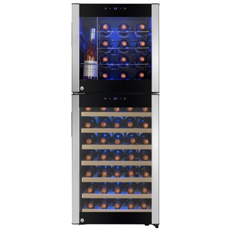 AKDY 58 Bottle Touch Panel Dual Zone Wire Shelves Freestanding Compressor Wine