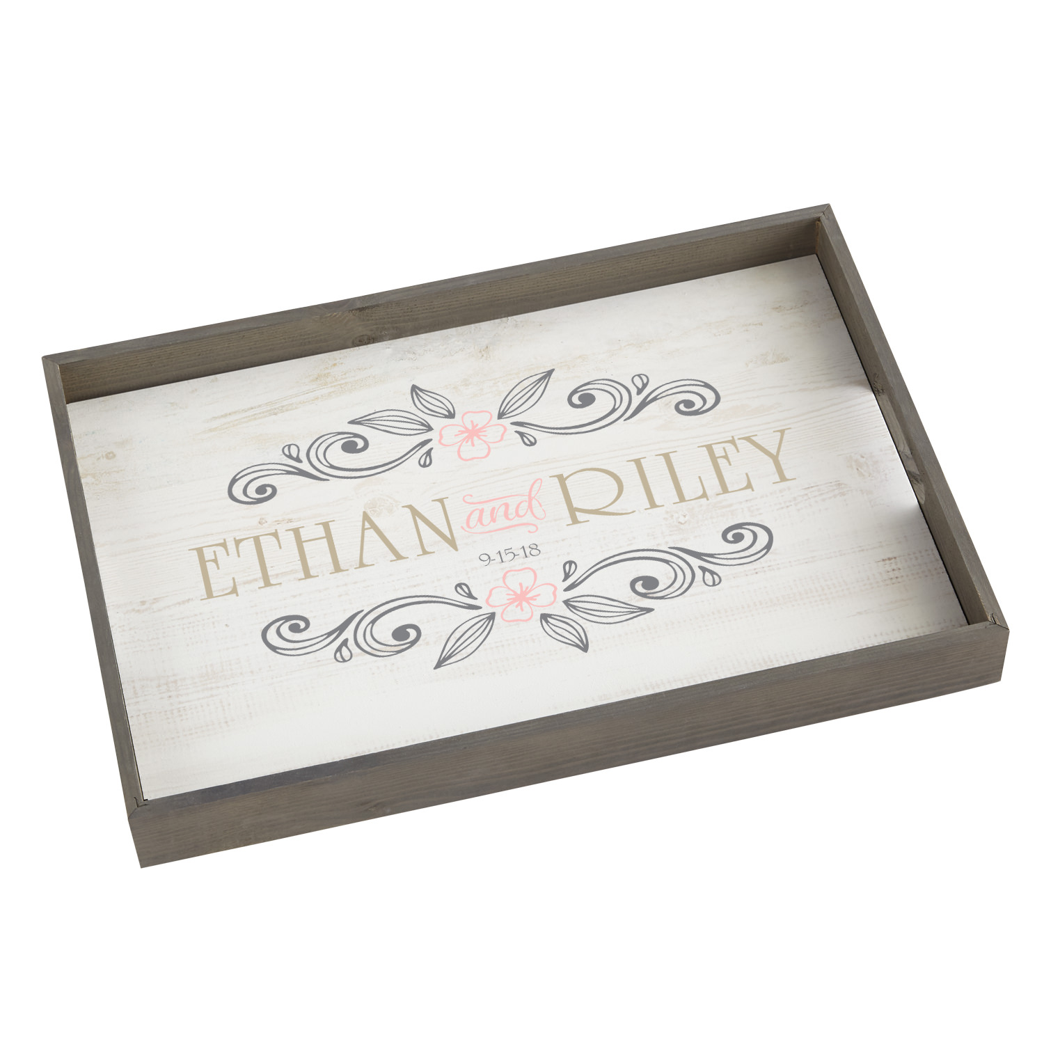 Personalized Rustic Elegance Wood Serving Tray - Available in Pink or Teal