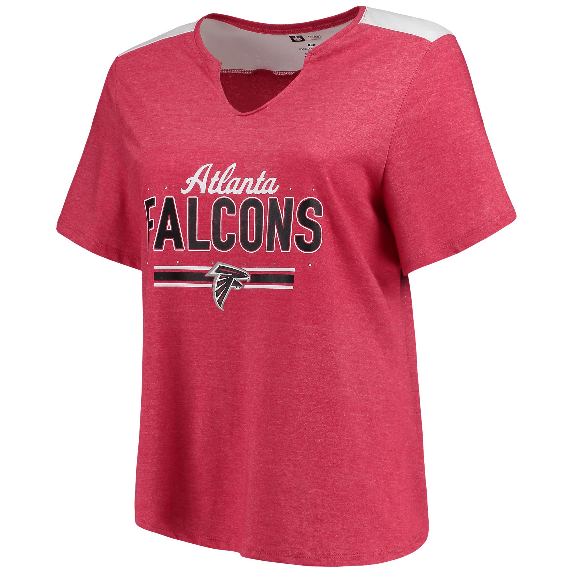 Women's Majestic Heathered Red Atlanta Falcons Notch Neck Plus Size T-Shirt