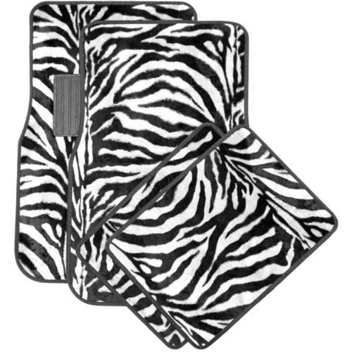 OxGord Front & Back Seat Zebra/Tiger Stripe Carpet Mats for for Car/Truck/Van/SUV