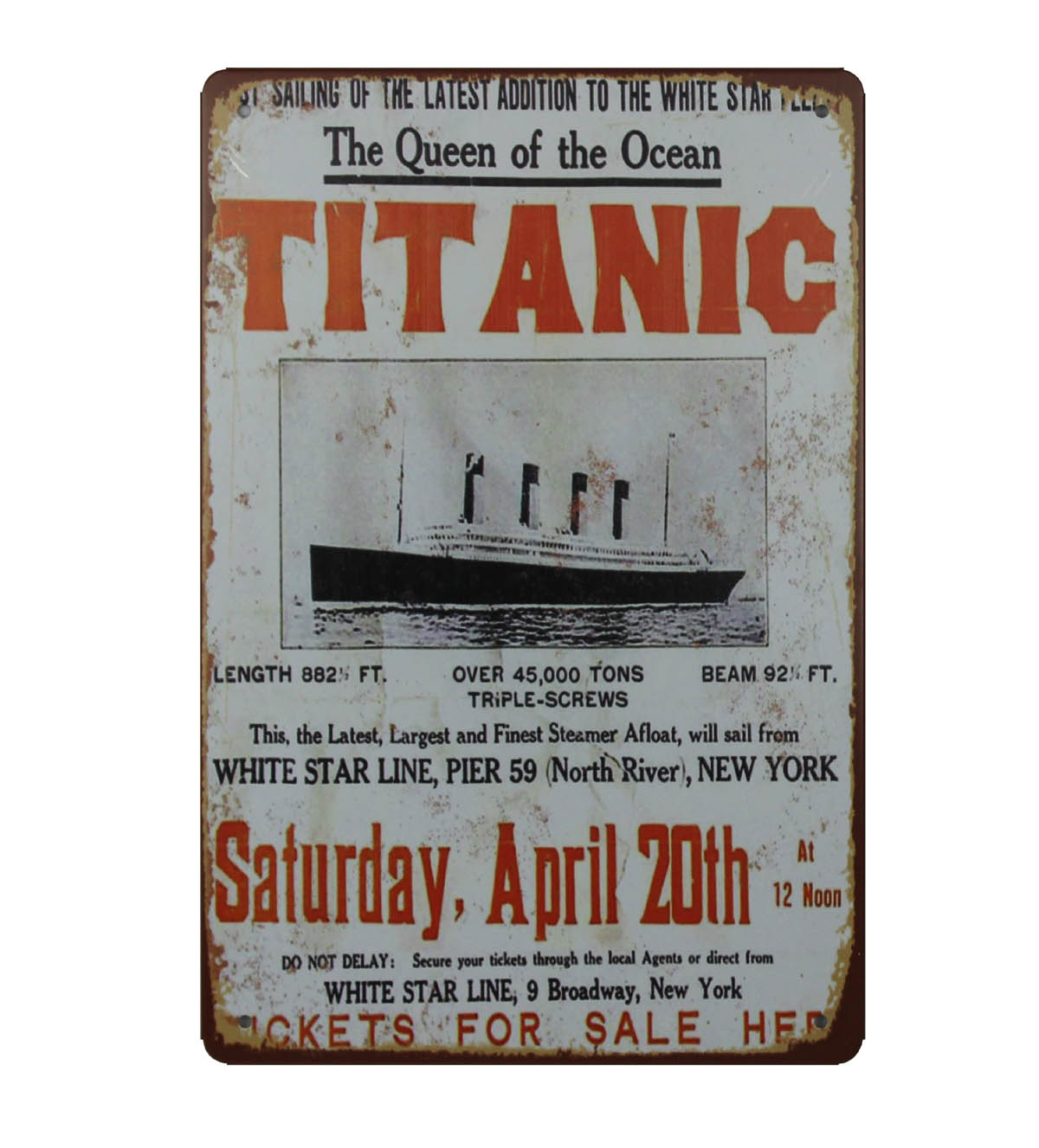 Man Cave 2 Sizes Available ideal for bar TITANIC METAL SIGN