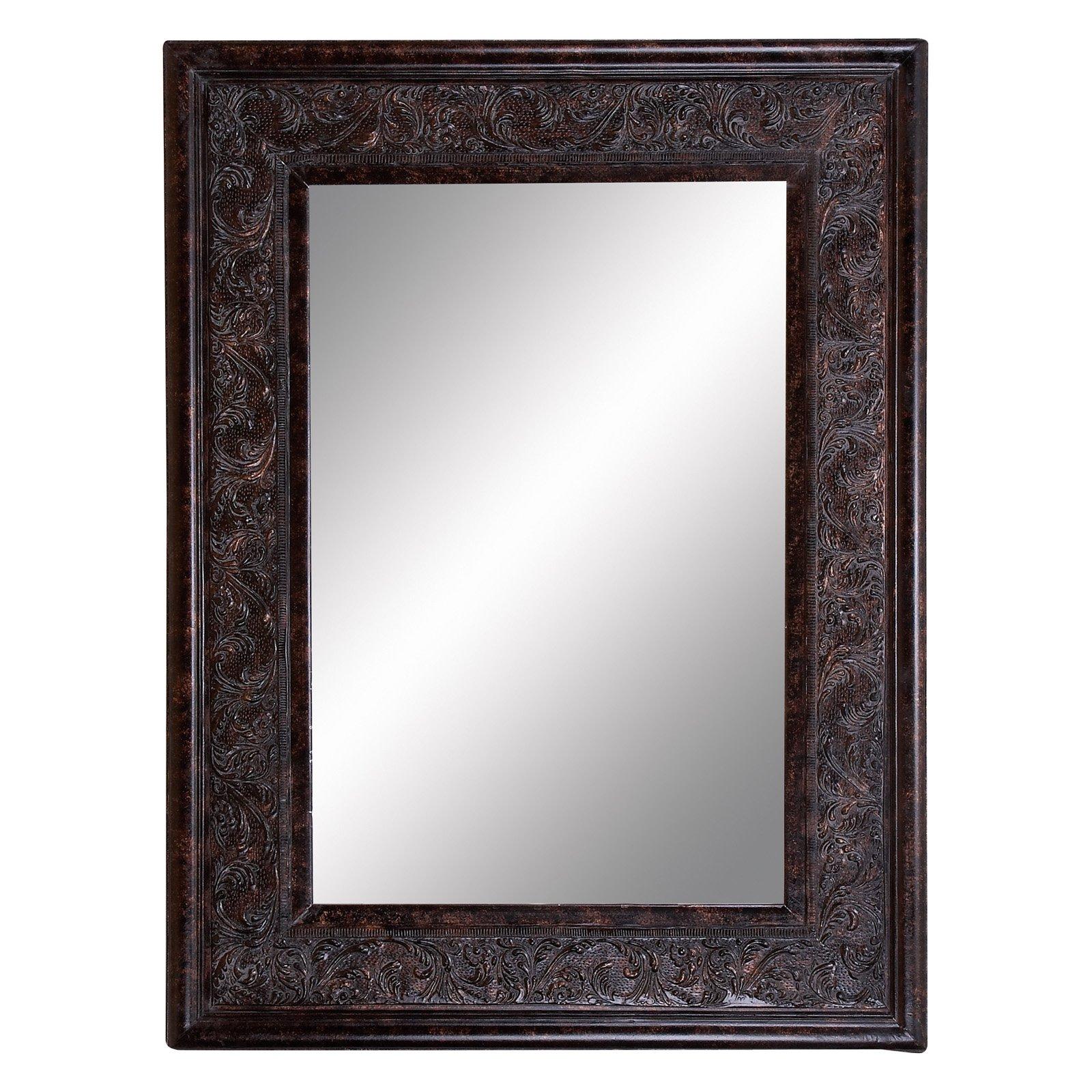 Decmode Wood Bevelled Mirror, Brown