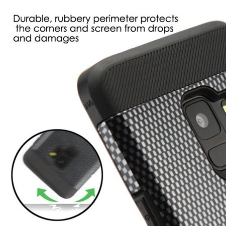 Samsung Galaxy S9 Case, by Insten Tuff Trooper Carbon Fiber Dual Layer [Shock Absorbing] Hybrid Hard Plastic/Soft TPU Rubber Case Cover For Samsung Galaxy S9, Black - image 4 of 5