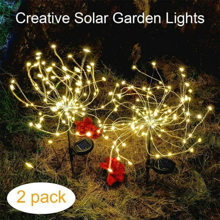 Solar Lights Outdoor, EpicGadget 105 LED Solar Lights String Lights for Garden Decoration Waterproof Fireworks Modeling Lighting Fiber Optic DIY Light Outdoor Christmas Lamp - Warm White (2 Pieces) - Solar System Decorations