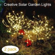 Solar Lights Outdoor, EpicGadget 105 LED Solar Lights String Lights for Garden Decoration Waterproof Fireworks Modeling Lighting Fiber Optic DIY Light Outdoor Christmas Lamp - Warm White (2 Pieces)