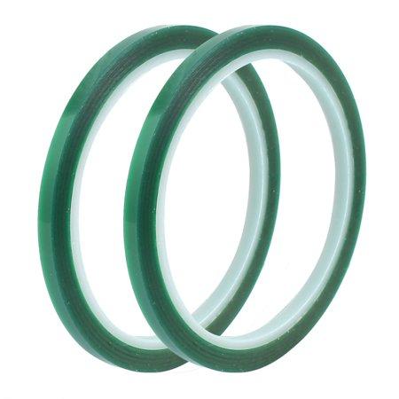 Green Self Adhesive (2Pcs 5mm Width 33M Length Green PET Self Adhesive Tape High Temp Heat Resistant )