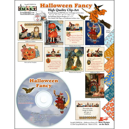 ScrapSMART Halloween Fancy Clip-Art CD-ROM, Vintage Images for Scrapbook, Craft, Sewing