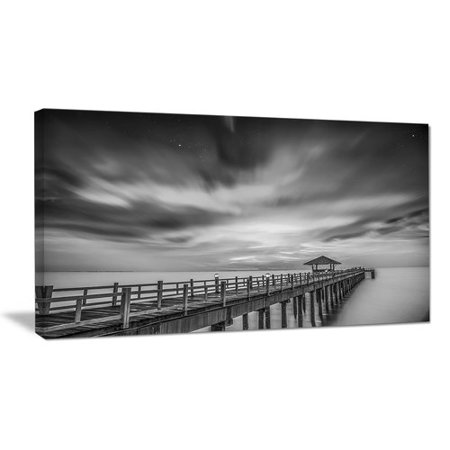 Design Art Black and White Wooden Bridge and Sky Sea Pier Photographic Print on Wrapped