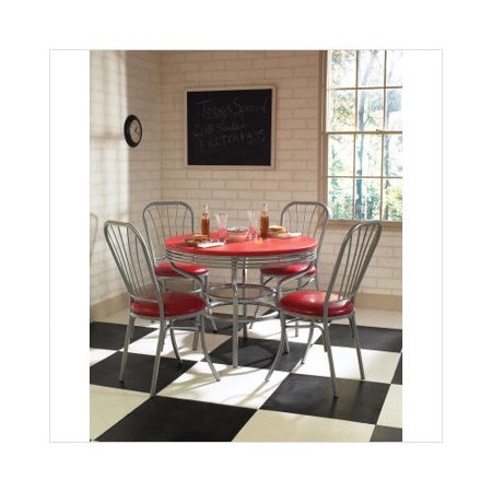Home Styles Retro Soda Shoppe 5 Piece Dinette Set With Rec