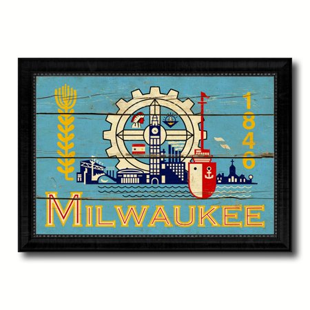 Milwaukee City Wisconsin State Flag Vintage Canvas Print Black Picture Frame Home Decor Wall Art Gifts -