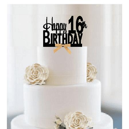 Item#016CTGR - Happy 16th Birthday Elegant Cake Decoration Topper with Gold Bow](16th Birthday Decorations)