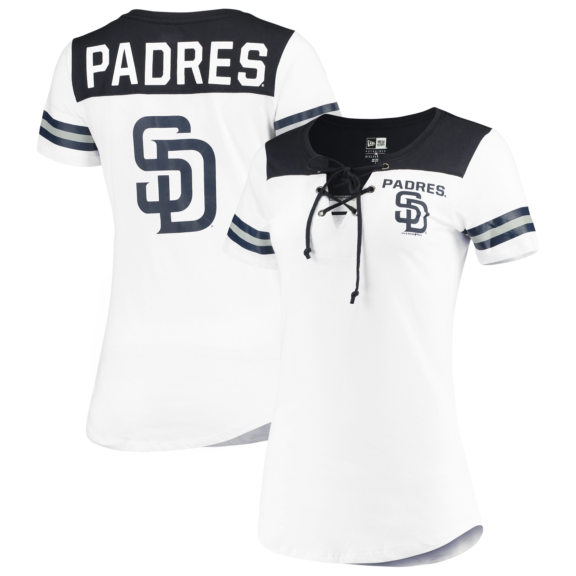 San Diego Padres 5th & Ocean by New Era Women's Baby Jersey Lace-Up V-Neck T-Shirt - White/Navy