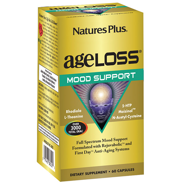 Natures Plus. AgeLoss Mood Support Capsules 60 Tablets. Gluten Free. Vegetarian