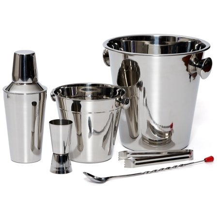 Bar Set By Bezrat – Stainless Steel Barware Accessories - Cocktail Kit for Parties & Fun – 6 Piece Bartender Set with Cocktail Shaker, Double Jigger, Ice Tongs, Wine Chiller, (Dublin Barware Set)
