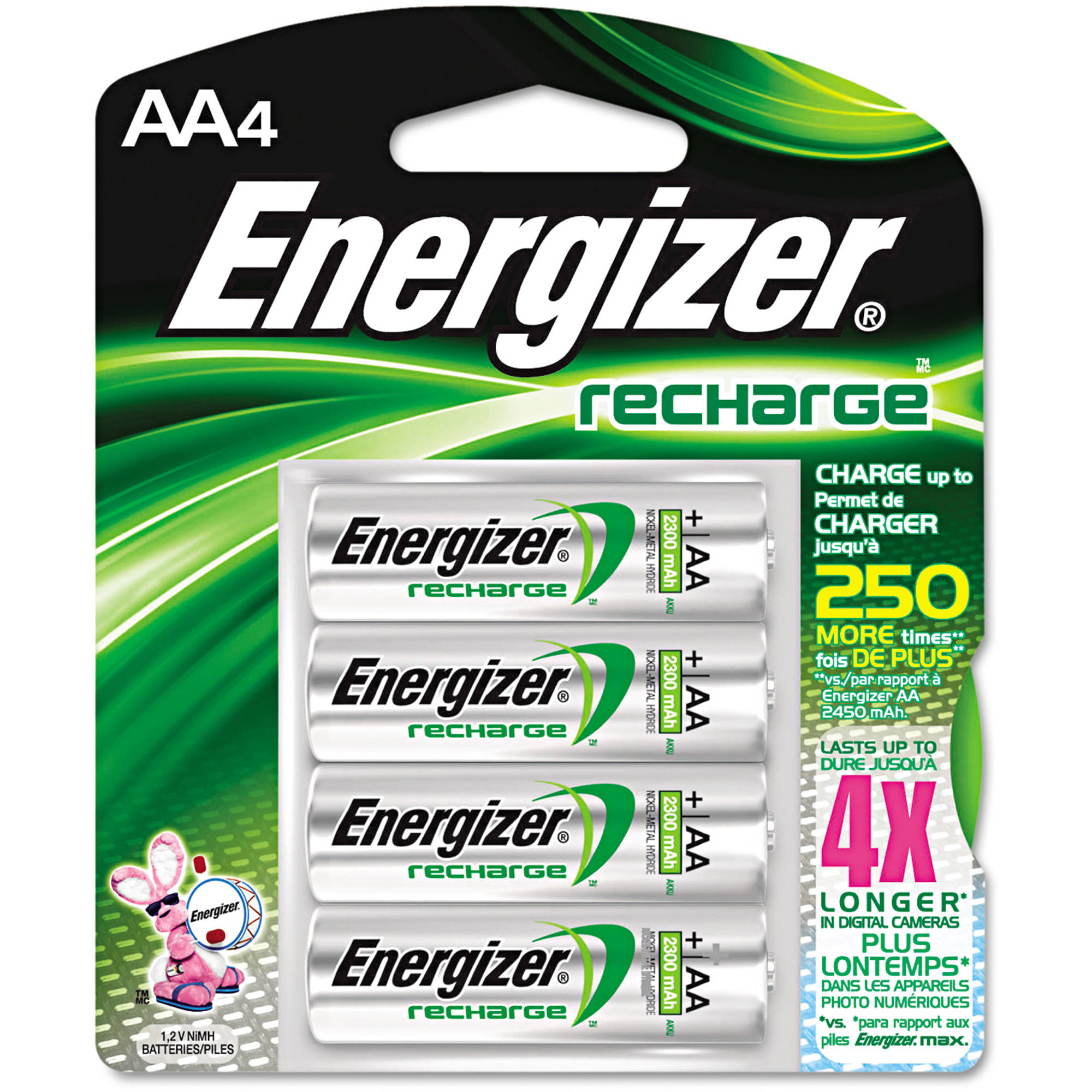 Energizer e2 NiMH Rechargeable Batteries, AA - 4 per pack