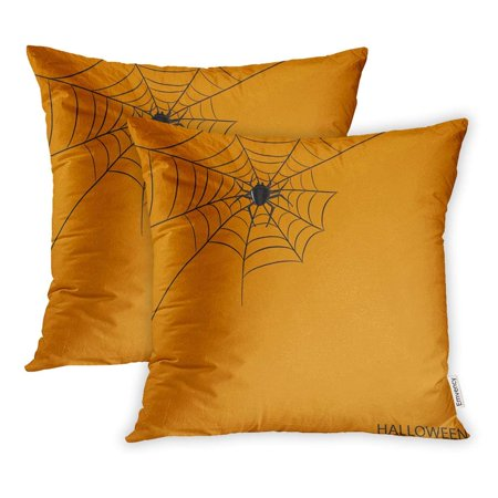 ARHOME Animal Spider on Halloween Orange Your Design Stock Arachnid Arachnophobia Pillowcase Cushion Cover 18x18 inch, Set of - Stock Spider
