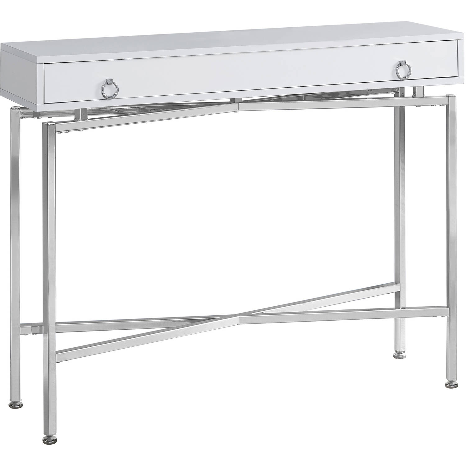 "Monarch Accent Table 42""L   Glossy White   Chrome Hall Console by Monarch Specialties"