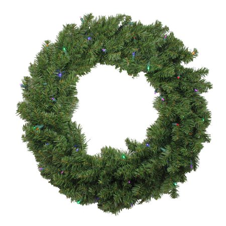"24"" Pre-lit Battery Operated Canadian Pine Artificial Christmas Wreath - Multi-Color LED Lights"