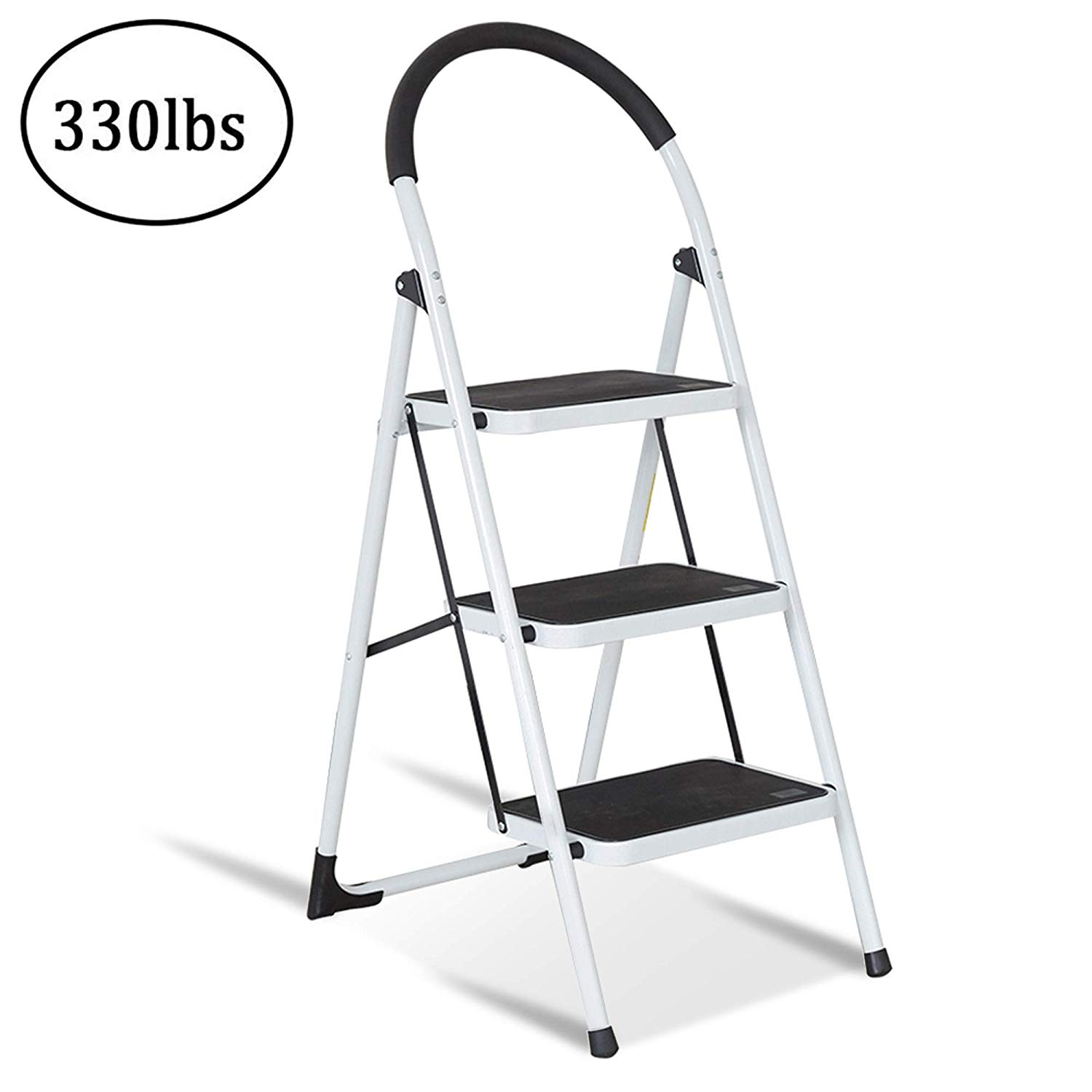 Ubesgoo Anti Slip 3 Step Ladder Lightweight En131 Sturdy
