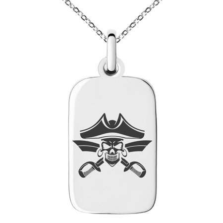 Pirate Swords Pendant (Stainless Steel Jolly Roger Skull Pirates Cross Swords Engraved Small Rectangle Dog Tag Charm Pendant Necklace)