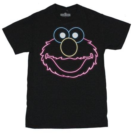 Sesame Street Mens T Shirt - Elmo Neon Face on Black - Elmo T Shirt