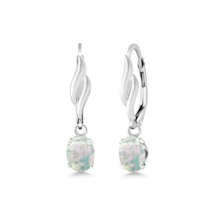 1.26 Ct Oval Cabochon White Simulated Opal 925 Sterling Silver Earrings