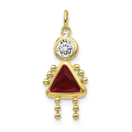 10k Yellow Gold January Girl Birthday Month Colored Stone Charm
