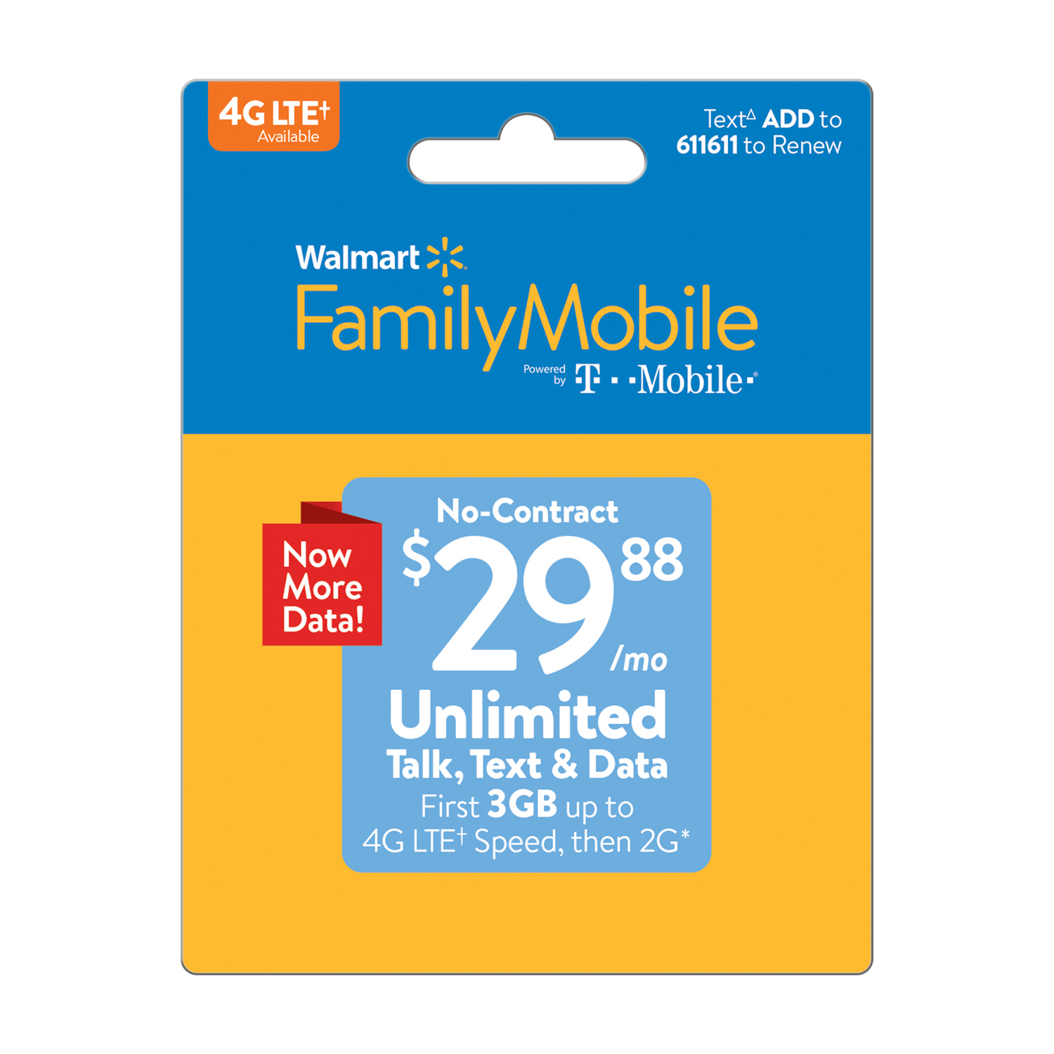 Walmart Family Mobile $29.88 Unlimited Monthly Plan (3GB at high speed, then 2G*) (Email Delivery)