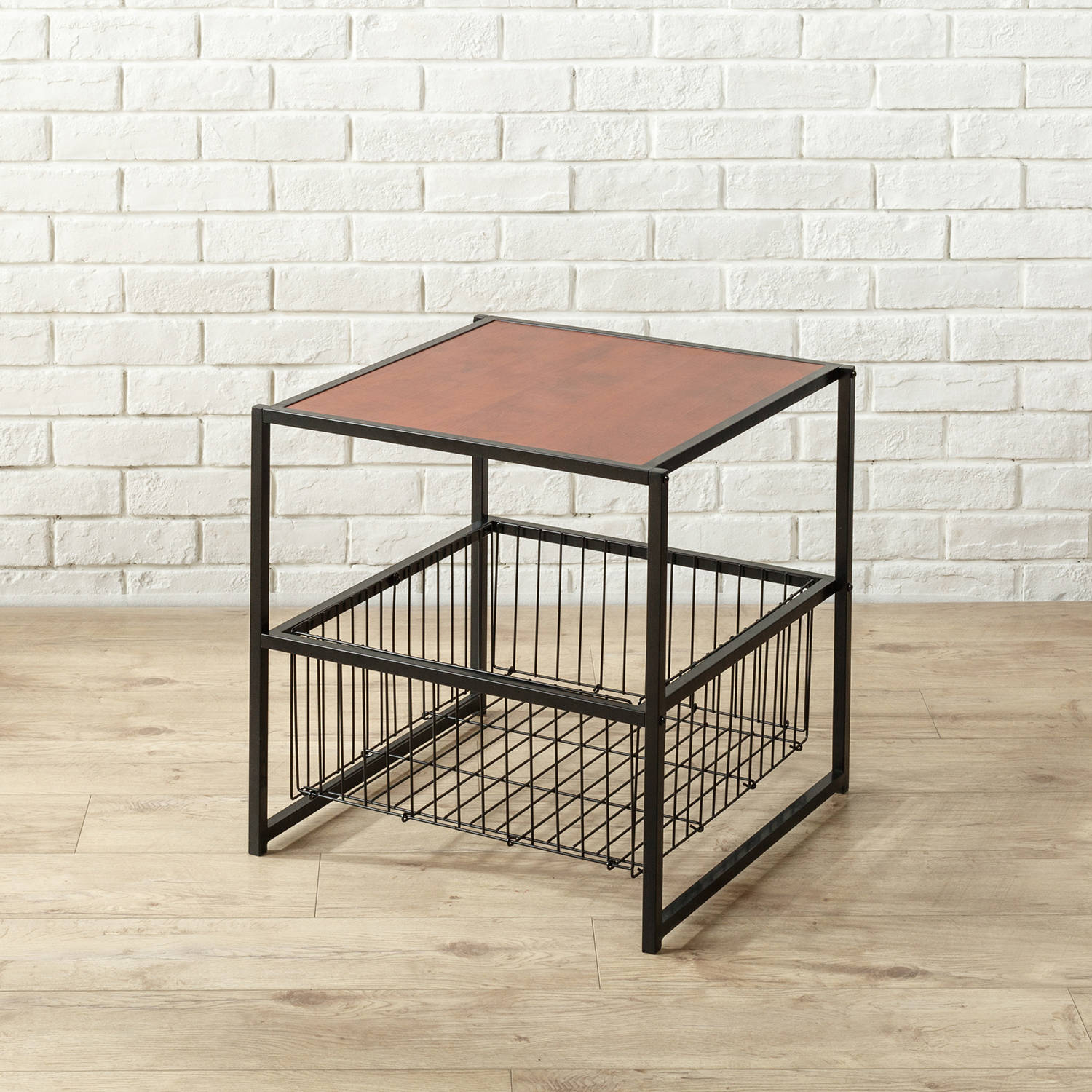 Zinus Deluxe Square End Table with Metal Storage Basket