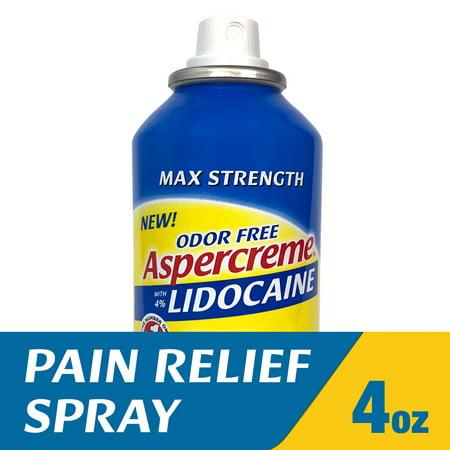 Aspercreme Odor Free Max Strength Lidocaine Pain Relief Dry Spray, 4 Ounces