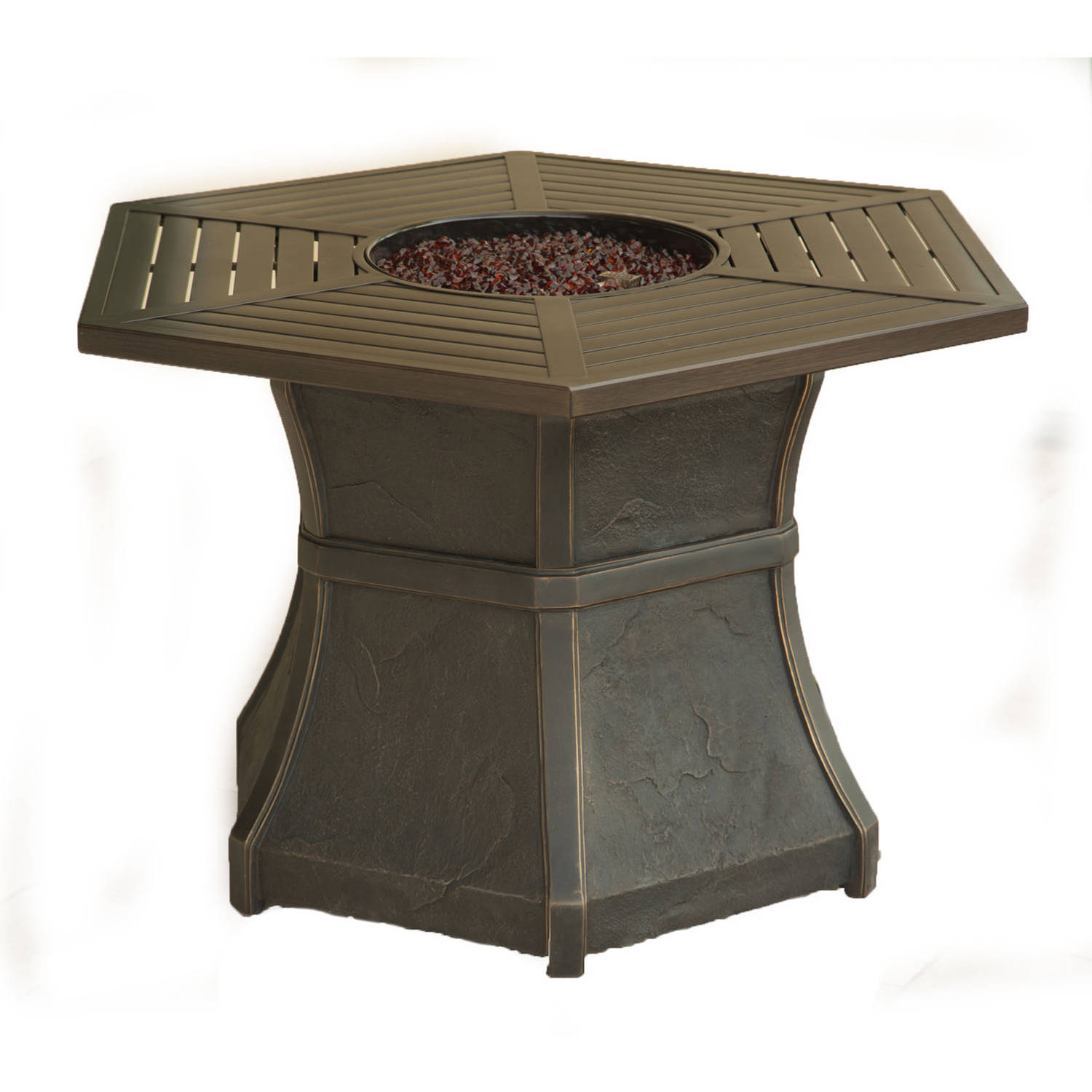 Good Cambridge Hexagonal High Top Gas Fire Pit Table