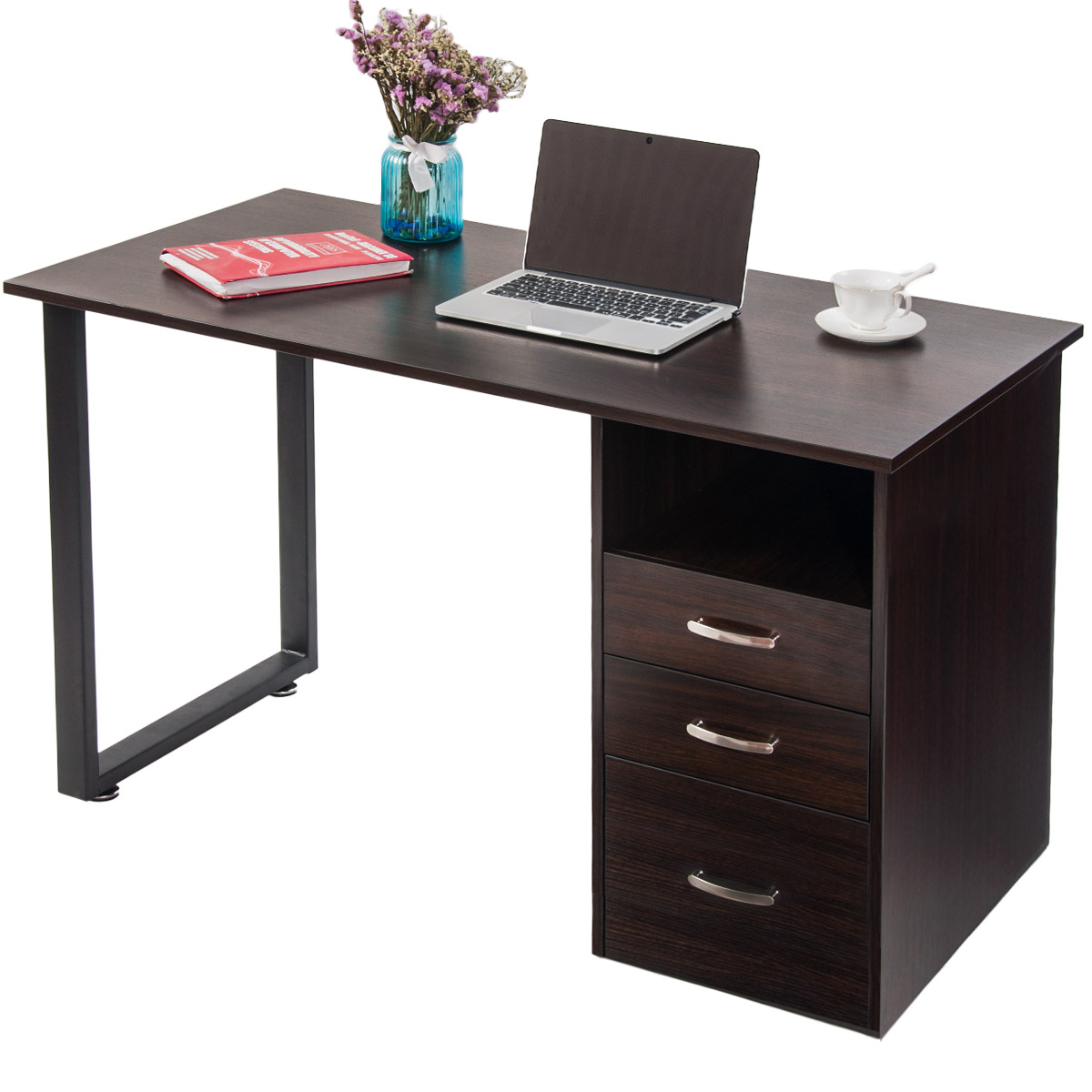 Merax Simple Design Computer Desk with Cabinet and Drawers,Espresso