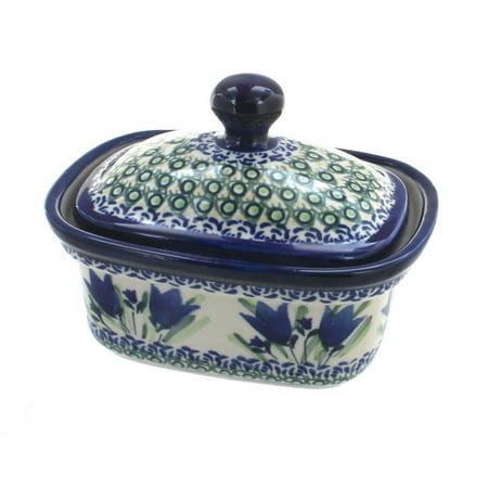 Polish Pottery Blue Tulip Butter Tub (Blue Rose Pottery Butter Dish)