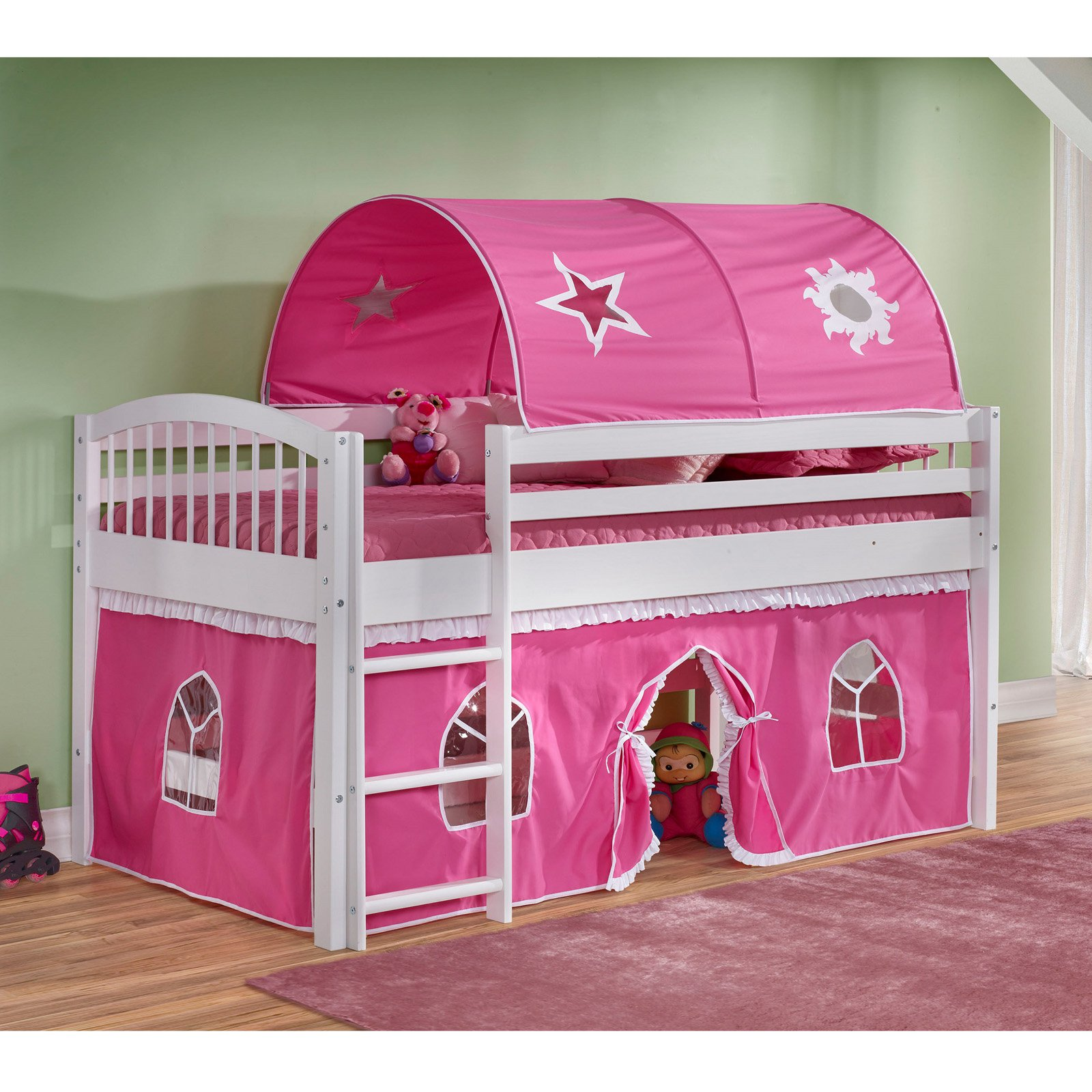Addison Cinnamon Finish Junior Loft Bed, Blue Tent and Playhouse