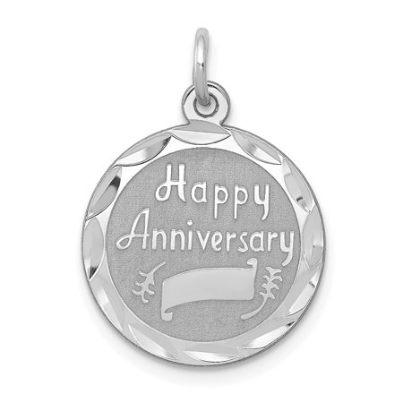 Roy Rose Jewelry Sterling Silver Happy Anniversary Disc (Happy Anniversary Disc Charm)