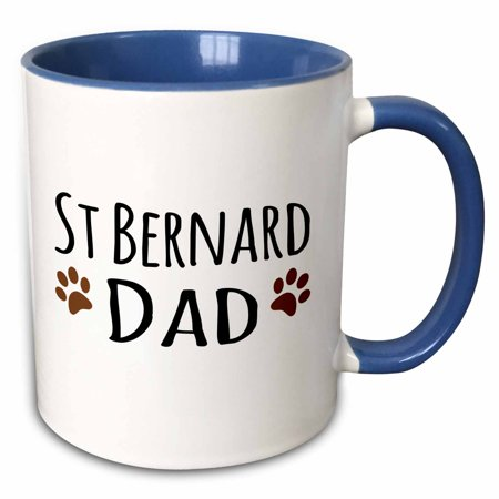 3dRose St Bernard Dog Dad - Saint Doggie by breed - brown muddy paw prints - doggy lover - pet owner love - Two Tone Blue Mug, 11-ounce