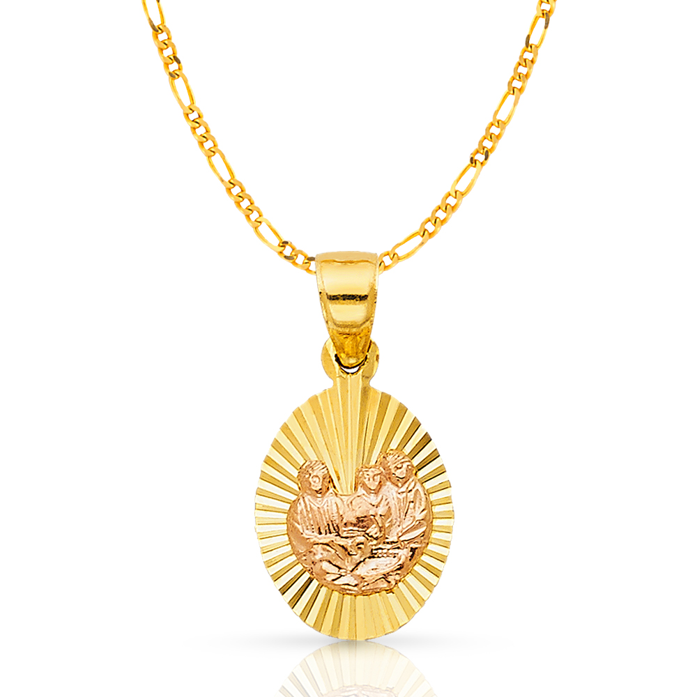 Ioka 14K Two Tone Gold Baptism Religious Charm Pendant For Necklace or Chain