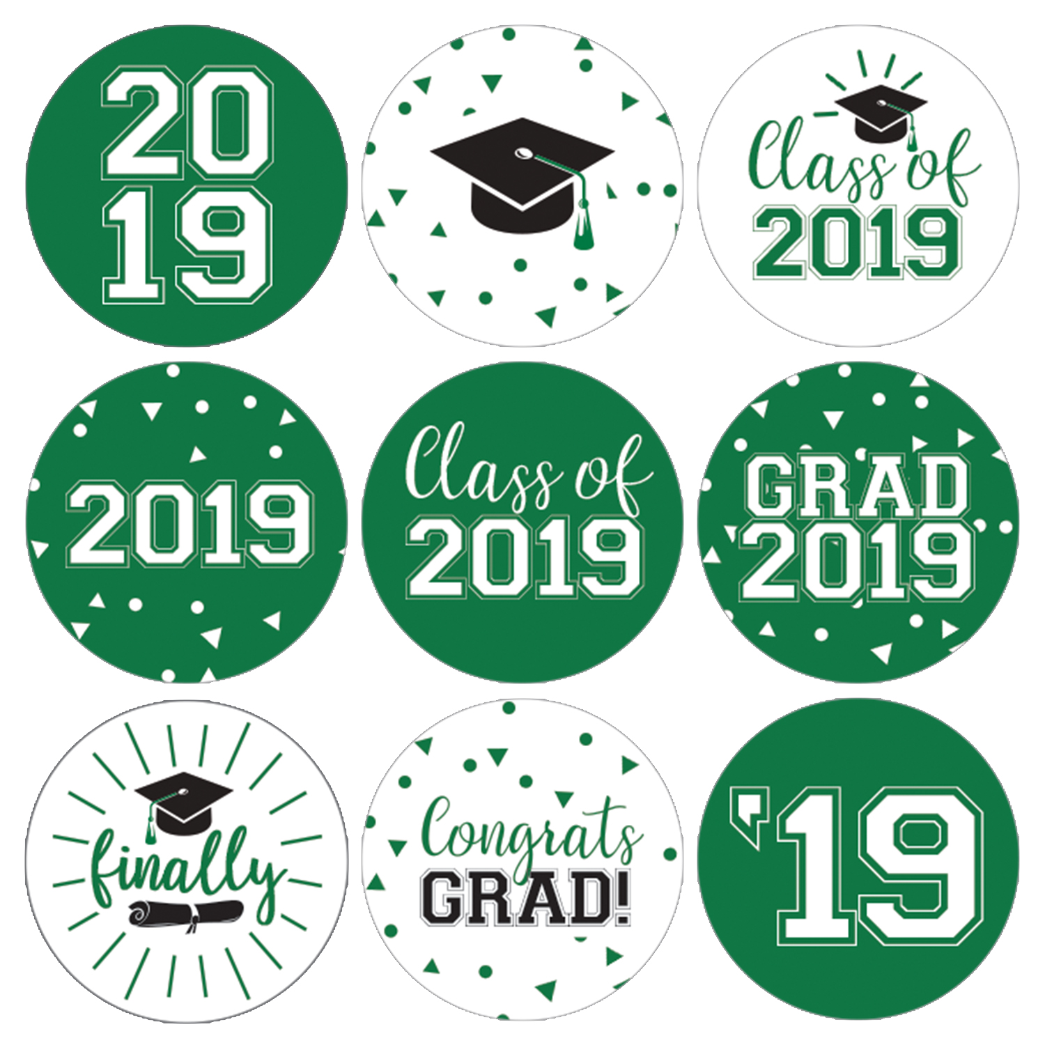 Green Graduation Party Stickers   216ct   Class of 2019 Favor Labels