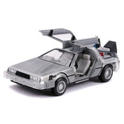 Jada Toys DeLorean Brushed Metal Time Machine with Lights Flying Version Back to the Future Part II 1989 Movie Hollywood Rides Series 1 by 24 Diecast Model Car Car Play Vehicles