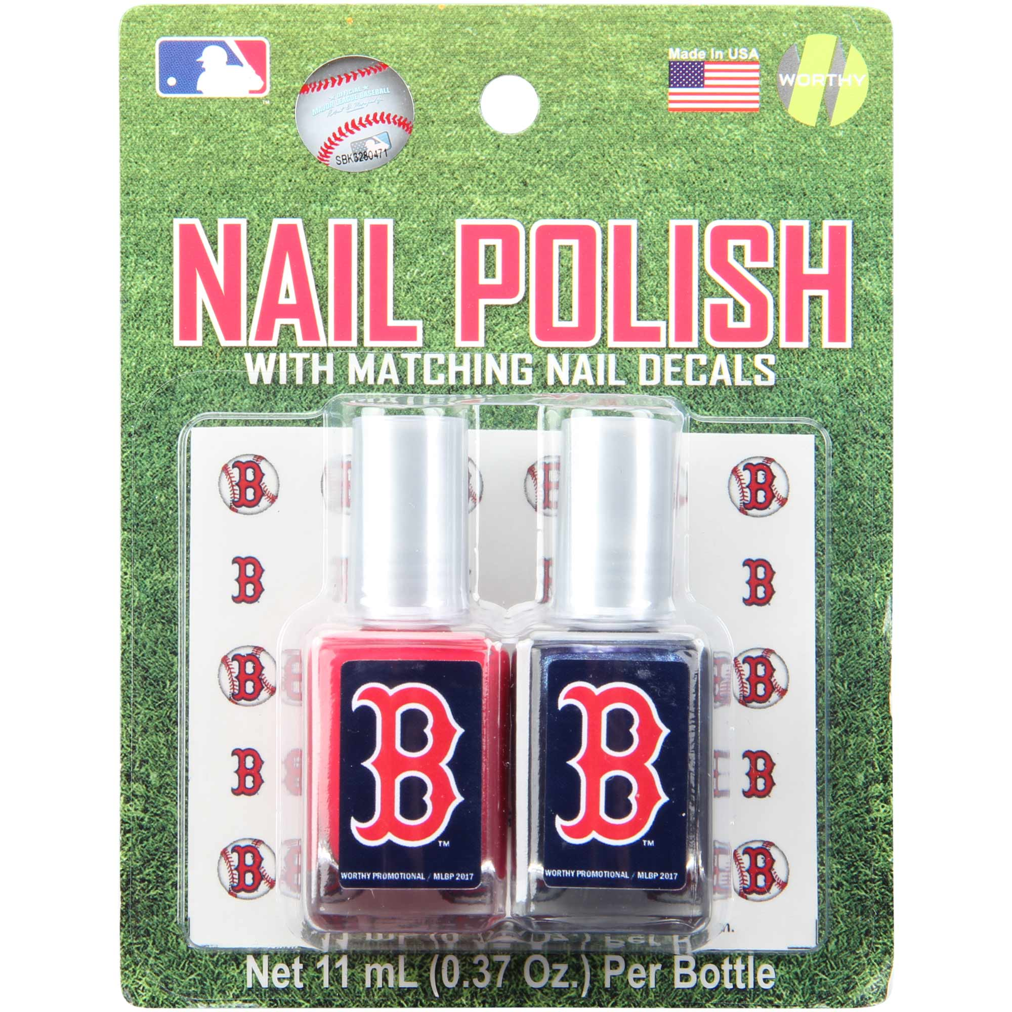 Boston Red Sox 2-Pack Nail Polish with Nail Decal - No Size