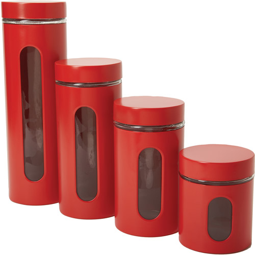 Anchor Hocking 4 Piece Palladian Canister Set With Window, Cherry