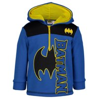 Warner Bros. Justice League Batman Little Boys' Half-Zip Fleece Pullover Hoodie, 5
