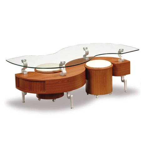 Global Furniture Glass Coffee Table with Black Stripe and Chrome Base